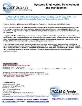 Full Day Tutorial @ University of Central Florida:  Thursday, July 30, 2009, 8:30 – 5:00
