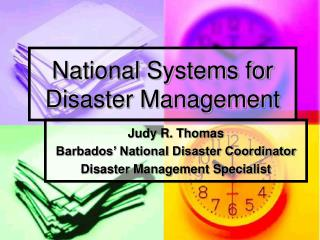 National Systems for Disaster Management