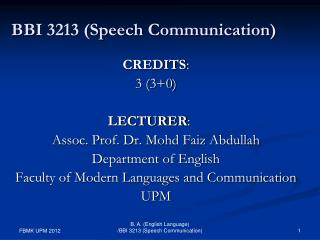BBI 3213 (Speech Communication)