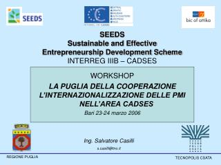 SEEDS Sustainable and Effective  Entrepreneurship Development Scheme INTERREG IIIB – CADSES