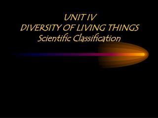 UNIT IV DIVERSITY OF LIVING THINGS Scientific Classification