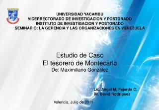 UNIVERSIDAD YACAMBU VICERRECTORADO DE INVESTIGACION Y POSTGRADO