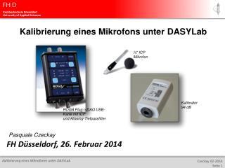 Kalibrierung eines Mikrofons unter  DASYLab