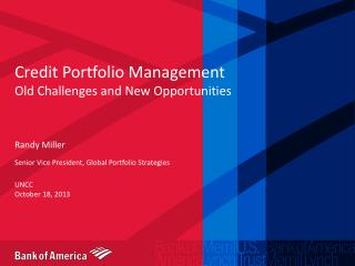 Credit Portfolio Management Old Challenges and New Opportunities