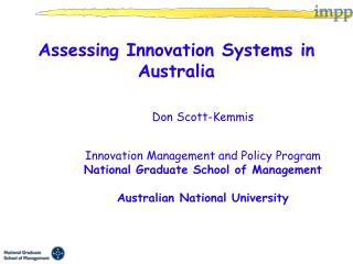 Assessing Innovation Systems in Australia   Don Scott-Kemmis    Innovation Management and Policy Program National Gradua