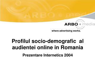 Profilul socio-demografic  al audientei online in Romania Prezentare Internetics 2004