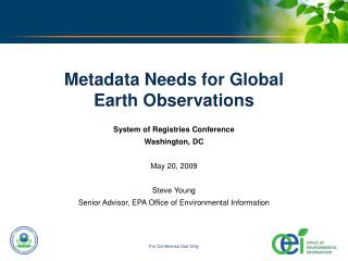 Metadata Needs for Global Earth Observations