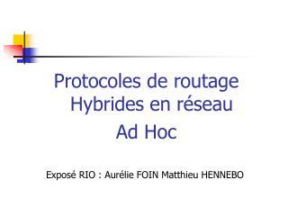 Protocoles de routage Hybrides en réseau  Ad Hoc