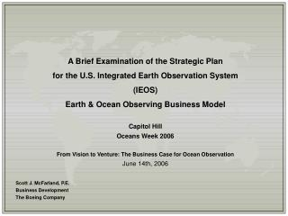 A Brief Examination of the Strategic Plan for the U.S. Integrated Earth Observation System (IEOS)
