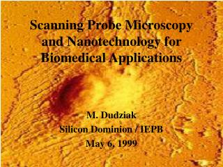 Scanning Probe Microscopy  and Nanotechnology for Biomedical Applications