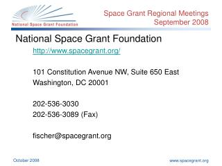 Space Grant Regional Meetings September 2008