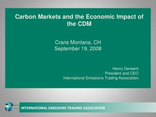 Carbon Markets and the Economic Impact of the CDM