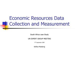 Economic Resources Data Collection and Measurement