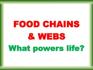 FOOD CHAINS & WEBS What powers life?