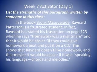 Week 7 Activator (Day 1)