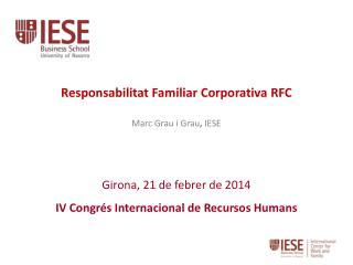 Girona, 21 de febrer de 2014 IV Congrés Internacional de Recursos Humans