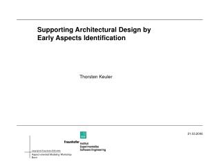 Supporting Architectural Design by Early Aspects Identification