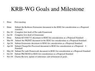 KRB-WG Goals and Milestone
