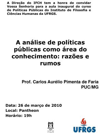 A análise de políticas públicas como área do conhecimento: razões e rumos