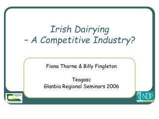 Irish Dairying  – A Competitive Industry?