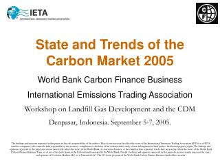 State and Trends of the Carbon Market 2005