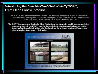 Introducing the  Invisible Flood Control Wall (IFCW™) From Flood Control America