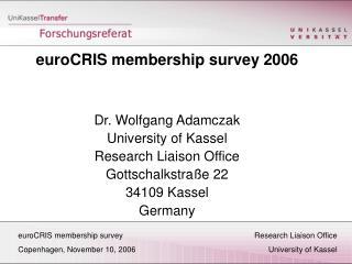 euroCRIS membership surveyResearch Liaison Office