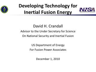 Developing Technology for  Inertial Fusion Energy