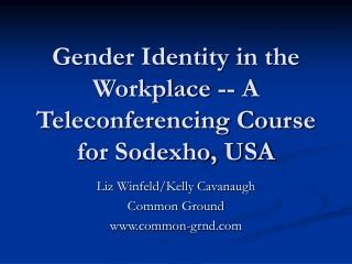 Gender Identity in the Workplace -- A Teleconferencing Course for Sodexho, USA
