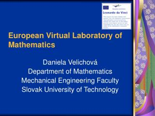 European Virtual Laboratory of Mathematics