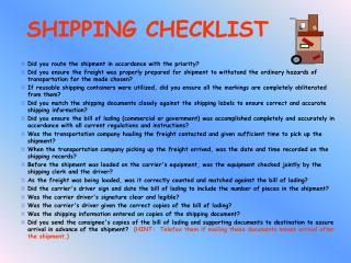 SHIPPING CHECKLIST