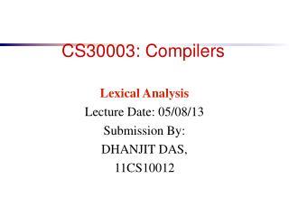 CS30003: Compilers