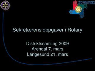 Sekretærens oppgaver i Rotary