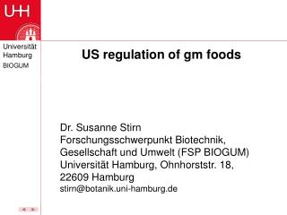 US regulation of gm foods