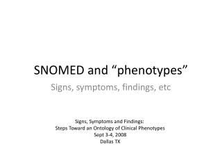 "SNOMED and ""phenotypes"""