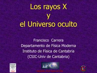Los rayos X  y  el Universo oculto