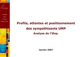 Profils, attentes et positionnement des sympathisants UMP Analyse de l'Ifop.