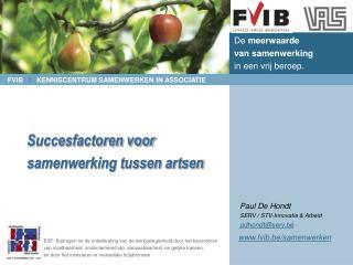 Succesfactoren voor samenwerking tussen artsen