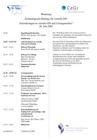 16.00  Begrüßung/Moderation PD Dr. Gerd Buziek, CeGi GmbH Einführung