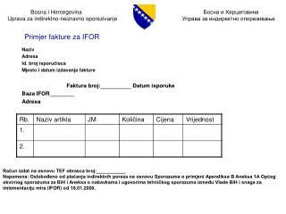 Naziv Adresa Id. broj isporučioca Mjesto i datum izdavanja fakture