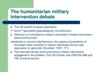 The humanitarian military intervention debate