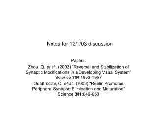 Notes for 12/1/03 discussion