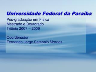 Universidade Federal da Para�ba