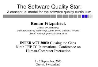 The Software Quality Star: A conceptual model for the software quality curriculum