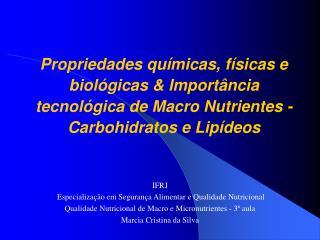 IFRJ  Especialização em Segurança Alimentar e Qualidade Nutricional
