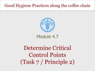 Determine Critical Control Points (Task 7 / Principle 2)