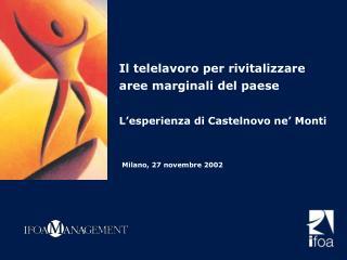 Il telelavoro per rivitalizzare aree marginali del paese L'esperienza di Castelnovo ne' Monti