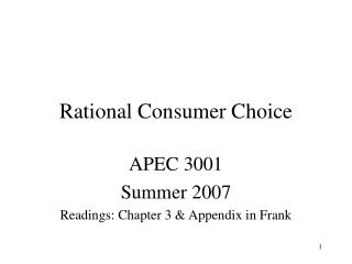 Rational Consumer Choice