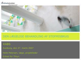 KABS  Axelborg, den 27. marts 2007  Helle Petersen, læge, projektleder   Enhed for Tilsyn