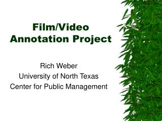 Film/Video Annotation Project